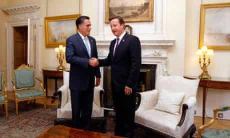 Mitt Romney with David Cameron in London