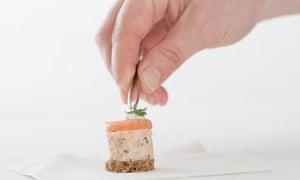 chef with tweezers