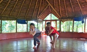 Anna Stothard with Omesh kalari yoga instructor kerala
