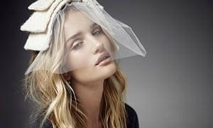 Rosie Huntington-Whiteley in cream headpiece