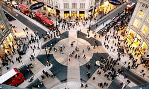 Looking down on the Oxford Circus pedestrian crossing