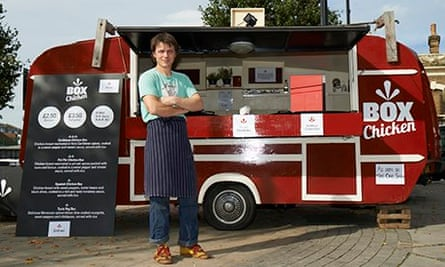 Giles Smith of Box Chicken next to his van