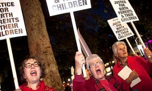 Making a stand: Jean and Veronica (centre and right) protest at the premiere of Philomena in London