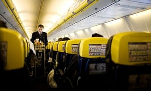 Cabin crew on a Ryanair flight