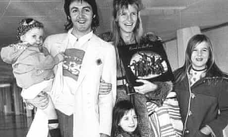 Paul McCartney with Linda and family in 1973