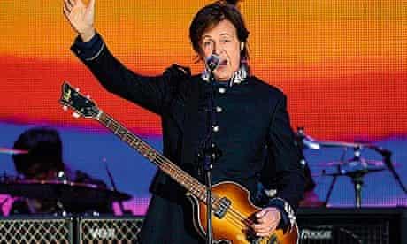 Paul McCartney performing at