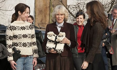 Sofie Grabol; Camilla, Duchess of Cornwall, and Crown Princess Mary on the set of The Killing