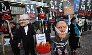 Protestors after Leveson inquiry report