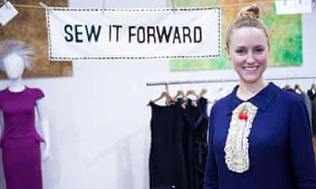 Ethical fashionista ZoeRobinson with 'Sew it forward' banner