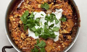 Nigel Slater's minced turkey chilli recipe in a pan with handles