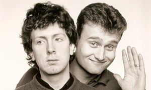Steve Punt and Hugh Dennis, one smiling, the other not
