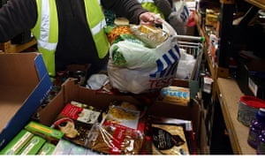 Preparing packages at a foodbank