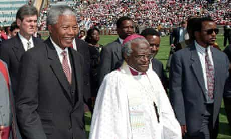 PRESIDENT ELECT MANDELA AND ARCHBISHOP TUTU ARRIVE FOR SERVICE FOR CHRISTIAN COMMUNITY IN SOWETO.