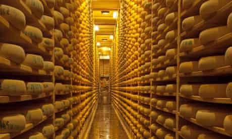 Shelves of Comte cheese