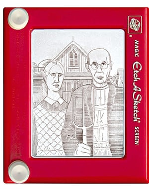 Etch A Sketch version of Grant Wood's American Gothic, by Jeff Gagliardi.
