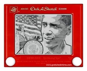 Etch a Sketch Barack Obama by George Vlosich