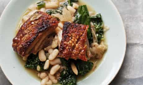 Nigel Slater's pork belly and beans