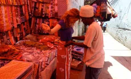 Anna Stothard shops on Kanga Street in Zanzibar