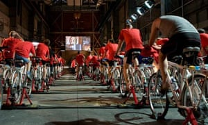 cyclists make a human power station