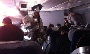 Fireman enters the plane