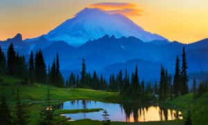 Mount Rainier at sunset from Tipsoo Lake