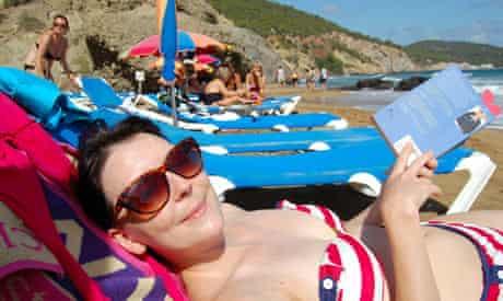 Emma John's sister Kate on the beach, Ibiza