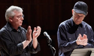 Steve Reich, right, performs Clapping Music with London Sinfonietta principal percussionist David Hockings at the Royal Festival Hall in London.