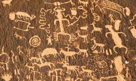 Animal figures cut into desert varnish