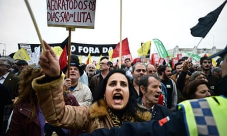 Demonstrators at a rally against austerity in Lisbon