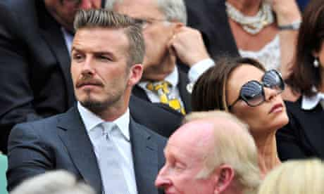 David and Victoria Beckham in the crowd for the men's singles final at Wimbledon in 2012.