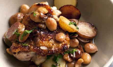 Nigel Slater's pot-roast chicken with sherry and almonds