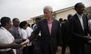 Bill Clinton in Rwanda with Paul Kagame