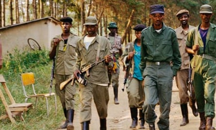 Paul Kagame with his troops in Rwanda