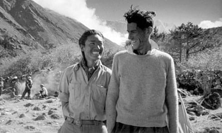 File photo of Hillary and Norgay smiling during an interview after their ascent of Everest in Nepal