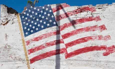 Faded Painted American Flag on a Crumbling Building, Calvert, Texas