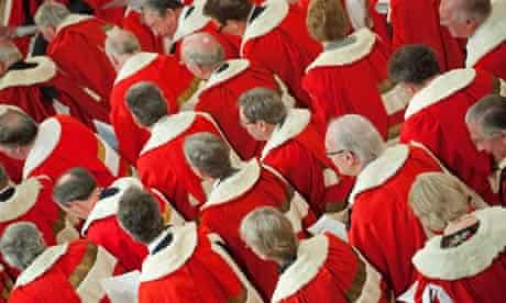 Members of the House of Lords wait for B