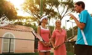 A tennis lesson at Forte Village resort, Sardinia