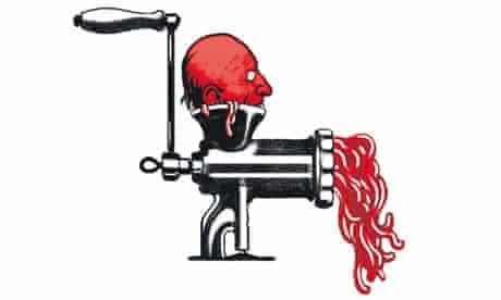 Head in meat grinder illustration