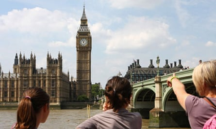 Three tourists looking across the river Thames at the Houses of Parliament