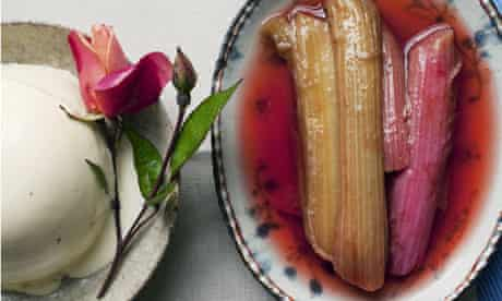 One plate with Nigel Slater's cinnamon panna cotta, another with rhubarb