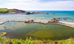The large tidal bathing pool at Bude North Cornwall England UK