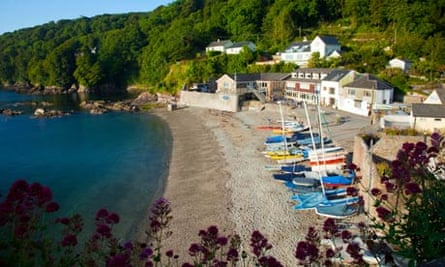 An aerial view of Cawsand bathed in early morning sun