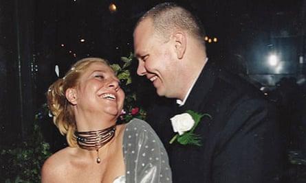Tom Kerridge and Beth Kerridge smiling at their wedding