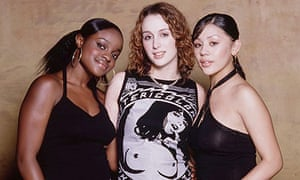 Sugababes at age 16 and 17, standing against a wall