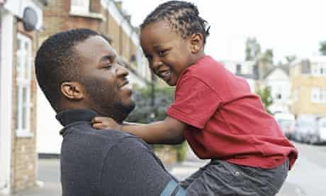 Olatunde Kareem with his son Aaron, aged 3