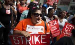 Demonstrators in support of fast food workers