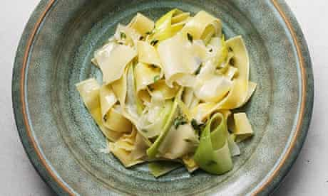 Nigel Slater's leek and pappardelle recipe on a plate