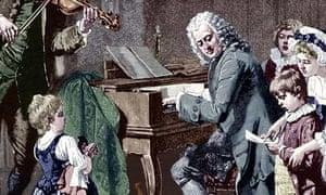 Johann Sebastian Bach at clavichord