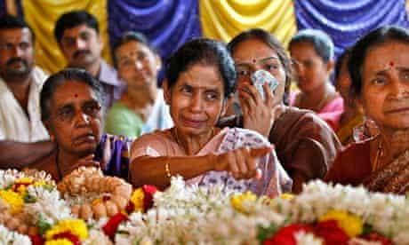 Family members at the funeral of Sudharshan Nagaraj