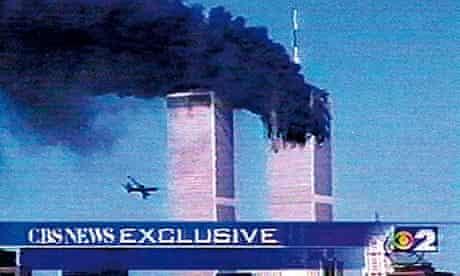 A plane flies towards the World Trade Center, New York, 9/11/01